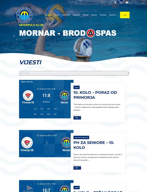 Vaterpolo klub Mornar Brodospas portfolio - Studio Zona Split